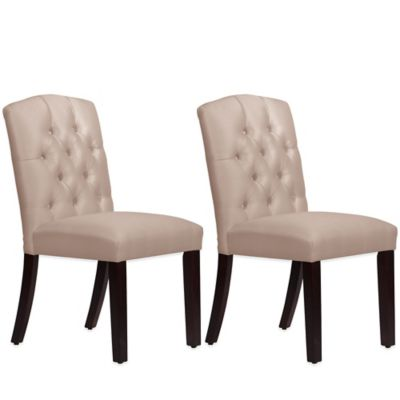 Skyline Furniture Denise Tufted Arched Dining Chairs in Shantung Dove (Set of 2)
