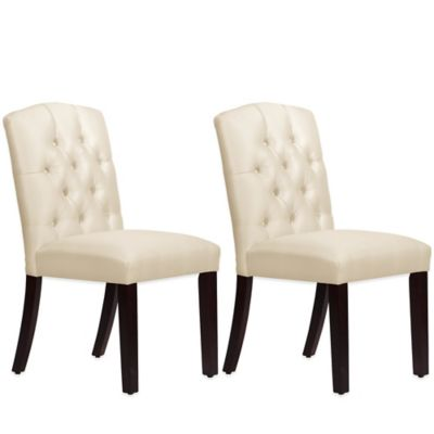 Skyline Furniture Denise Tufted Arched Dining Chairs in Shantung Parchment (Set of 2)