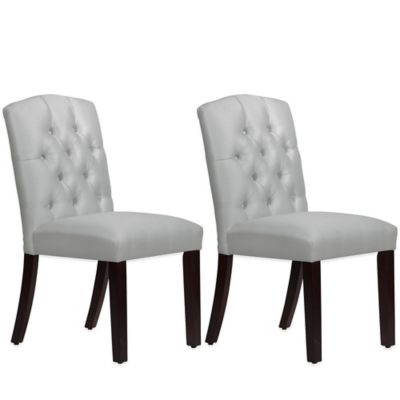 Skyline Furniture Denise Tufted Arched Dining Chairs in Shantung Silver (Set of 2)