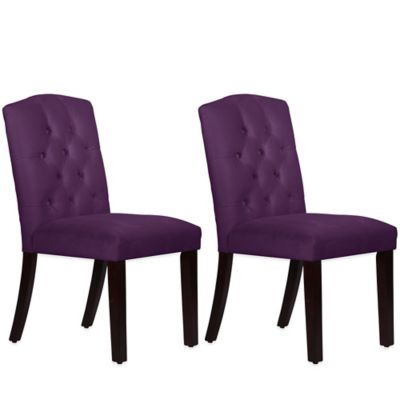 Skyline Furniture Denise Tufted Arched Dining Chairs in Velvet Aubergrine (Set of 2)