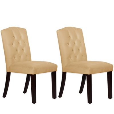 Skyline Furniture Denise Tufted Arched Dining Chairs in Velvet Buckwheat (Set of 2)