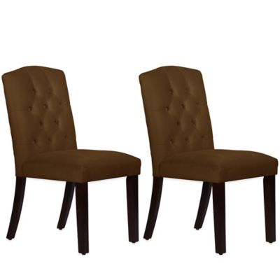 Skyline Furniture Denise Tufted Arched Dining Chairs in Velvet Chocolate (Set of 2)
