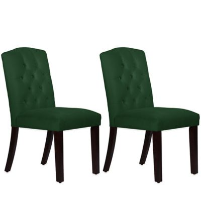 Skyline Furniture Denise Tufted Arched Dining Chairs in Velvet Emerald (Set of 2)