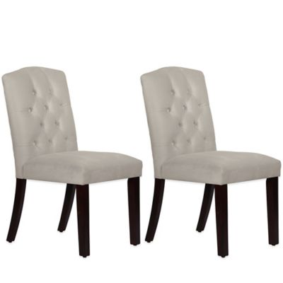 Skyline Furniture Denise Tufted Arched Dining Chairs in Velvet Light Grey (Set of 2)