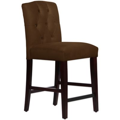 Skyline Furniture Denise Tufted Arched Counter Stool in Velvet Chocolate