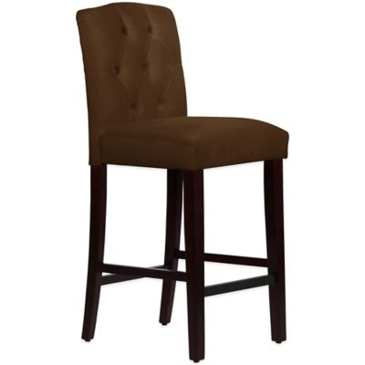 Skyline Furniture Denise Tufted Arched Barstool in Velvet Chocolate