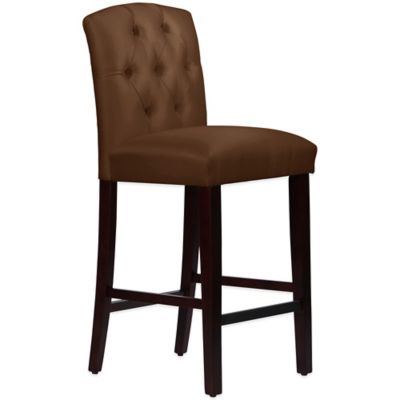 Skyline Furniture Denise Tufted Arched Barstool in Shantung Chocolate