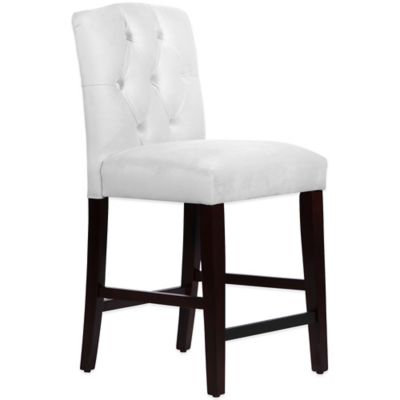 Skyline Furniture Denise Tufted Arched Counter Stool in Velvet White