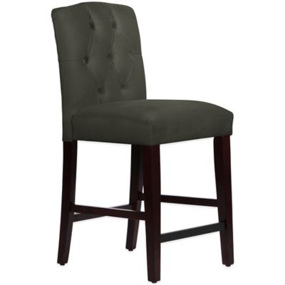 Skyline Furniture Denise Tufted Arched Counter Stool in Velvet Pewter