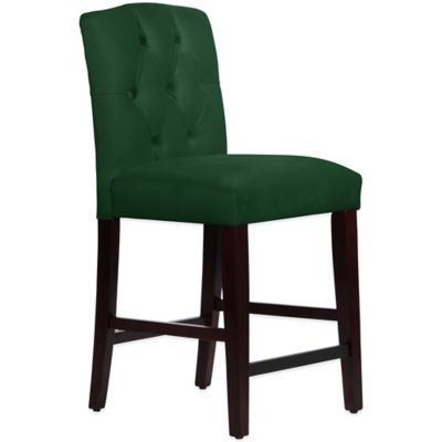 Skyline Furniture Denise Tufted Arched Counter Stool in Velvet Emerald