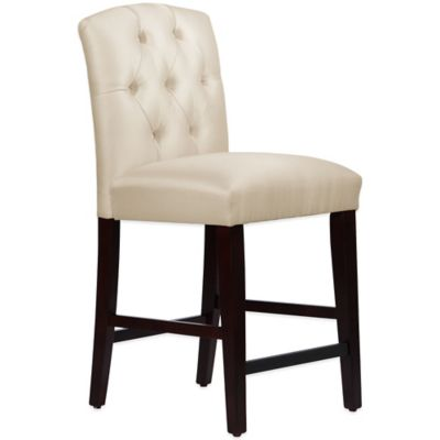 Skyline Furniture Denise Tufted Arched Counter Stool in Shantung Parchment