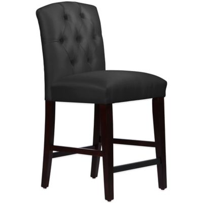 Skyline Furniture Denise Tufted Arched Counter Stool in Shantung Black