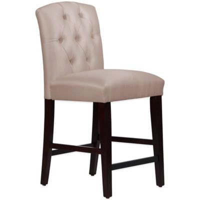 Skyline Furniture Denise Tufted Arched Counter Stool in Shantung Dove
