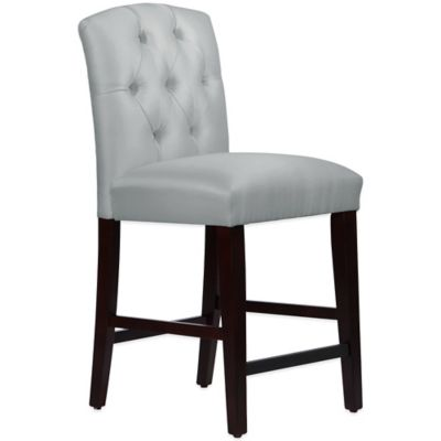 Skyline Furniture Denise Tufted Arched Counter Stool in Shantung Silver
