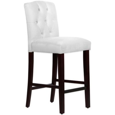 Skyline Furniture Denise Tufted Arched Barstool in Velvet White