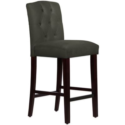 Skyline Furniture Denise Tufted Arched Barstool in Velvet Pewter
