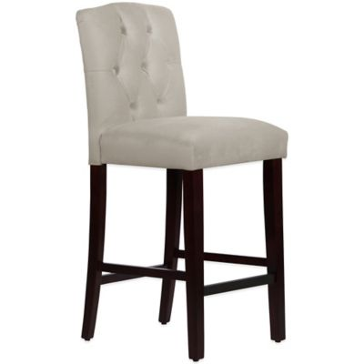 Skyline Furniture Denise Tufted Arched Barstool in Velvet Light Grey