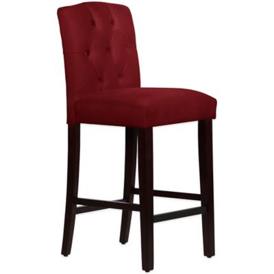 Skyline Furniture Denise Tufted Arched Barstool in Velvet Berry