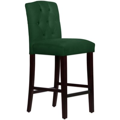 Skyline Furniture Denise Tufted Arched Barstool in Velvet Emerald