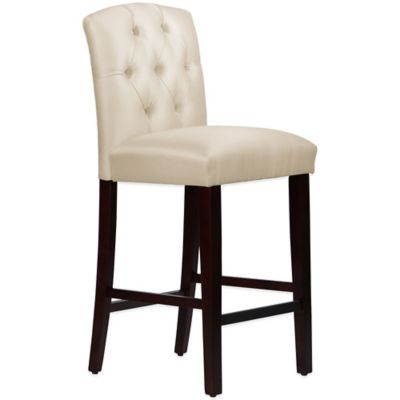 Skyline Furniture Denise Tufted Arched Barstool in Shantung Parchment