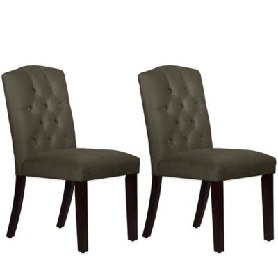 Skyline Furniture Denise Tufted Arched Dining Chairs in Velvet Pewter (Set of 2)