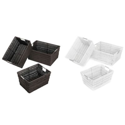 Rattique Storage Baskets in White (Set of 3)