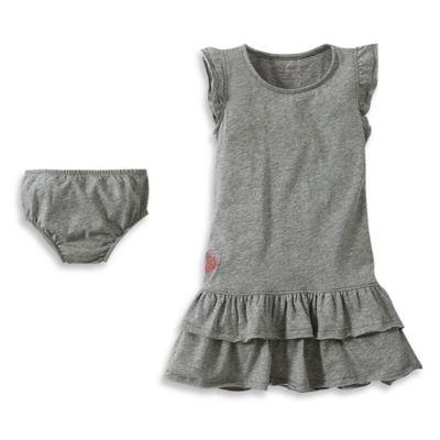 Girls' Clothing (Newborn - 4T) > Burt's Bees Baby™ 2-Piece Organic Cotton Ruffled Dress and Diaper Cover Set in Grey