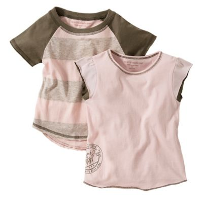Burt's Bees Baby™ Size 24M 2-Pack Organic Cotton Stripe and Solid T-Shirt in Pink/Brown