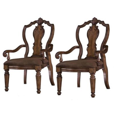 Pulaski San Mateo Carved Back Arm Chairs in Brown (Set of 2)