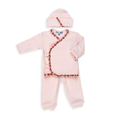 Sippy's Babes® Newborn 3-Piece Take Me Home Set in Pink with Rosette Trim