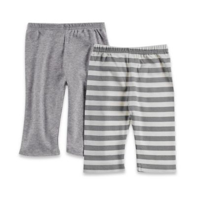 Sterling Baby Newborn 2-Pack Pull-On Pant Set in Solid Grey/Grey Stripe