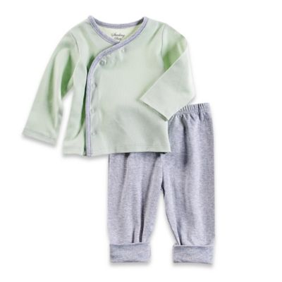 Sterling Baby Size 9M 2-Piece Kimono and Pant Set in Mint/Grey