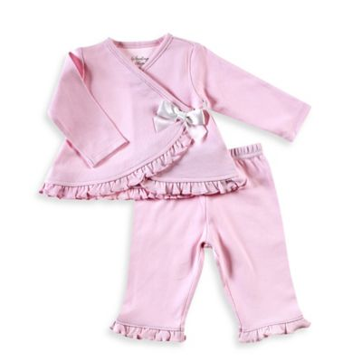 Sterling Baby Newborn 2-Piece Ruffled Kimono and Pant Set in Pink
