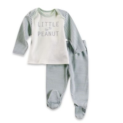 Sterling Baby Newborn 2-Piece PJ Top and Footed Pant Set in Grey/Green