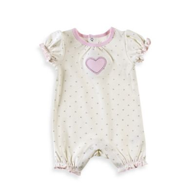Sterling Baby Size 6M Heart Romper in Ivory/Pink