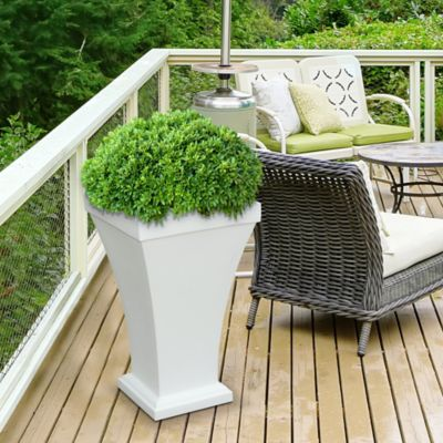Mayne Bordeaux Tall Planter in White