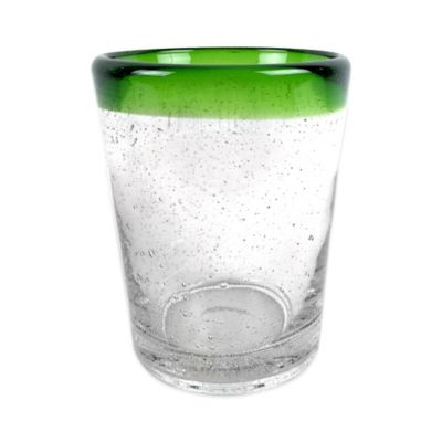 Seeded Double Old Fashion Glass with Green Rim
