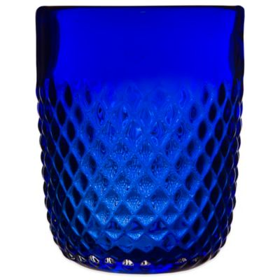 Embossed Diamond-Cut Double Old Fashioned Glass in Cobalt Blue