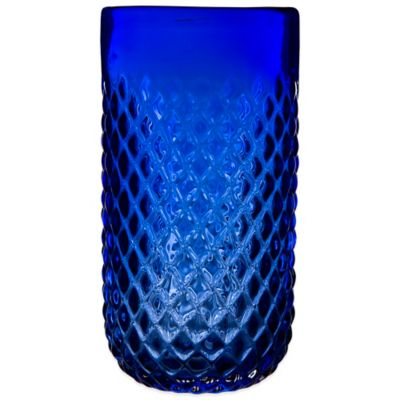 Embossed Diamond-Cut Double Highball Glass in Cobalt Blue