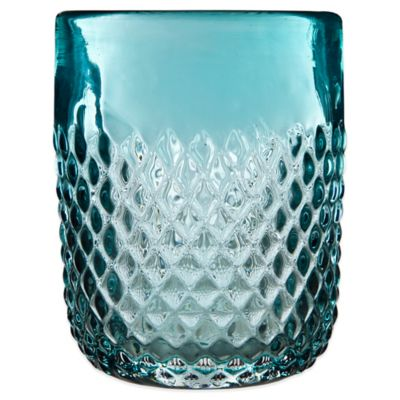 Embossed Diamond-Cut Double Old Fashioned Glass in Aqua