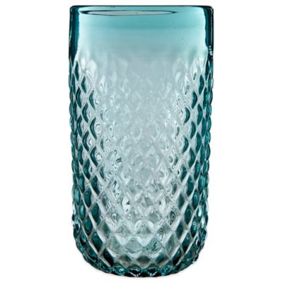 Embossed Diamond-Cut Double Highball Glass in Aqua