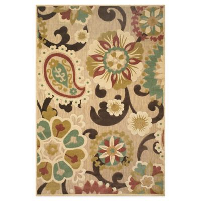 Feizy Floral Paisley 7-Foot 6-Inch Round Indoor/Outdoor Rug in Brown/Tan