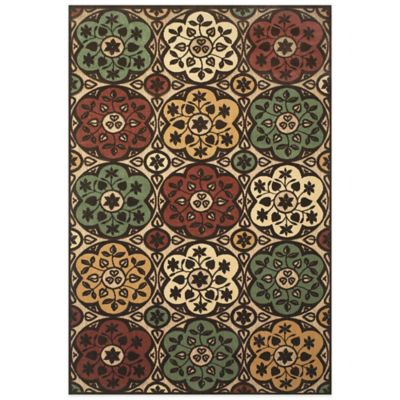 Feizy Floral Circle 2-Foot 1-Inch x 4-Foot Indoor/Outdoor Rug in Tan/Brown