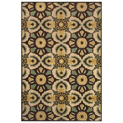 Feizy Kaleidoscope Floral 2-Foot 1-Inch x 4-Foot Indoor/Outdoor Rug in Tan/Brown