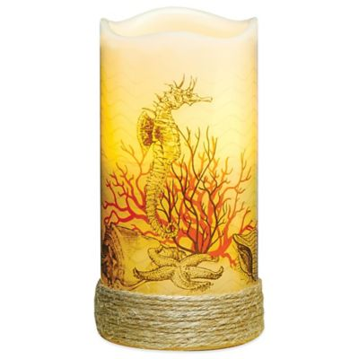Seahorse Flameless Pillar Candle with LED and Timer
