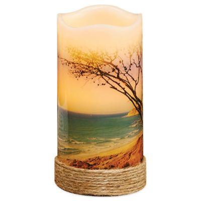 Beach Flameless Pillar Candle with LED and Timer