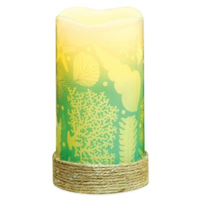Shells Flameless Pillar Candle with LED and Timer