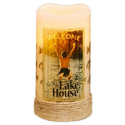 Lake House Flameless Pillar Candle with LED and Timer