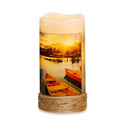 Canoe Flameless Pillar Candle with LED and Timer