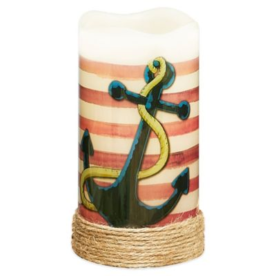Anchor Flameless Pillar Candle with LED and Timer